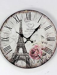 Недорогие -1 шт. 12 дюймов парижская башня безрамные расписные деревянные настенные часы ресторан украшения