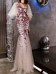 cheap -Mermaid / Trumpet Hot Red Engagement Formal Evening Dress V Neck Short Sleeve Floor Length Polyester with Sequin Appliques 2020