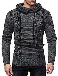 cheap -Men's Solid Colored Long Sleeve Pullover Sweater Jumper, Hooded Winter Gray / Khaki US38 / UK38 / EU46 / US40 / UK40 / EU48 / US42 / UK42 / EU50