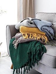 cheap -Bed Blankets / Sofa Throw / Multifunctional Blankets, Solid Color Knit / Cotton Warmer Tassel Soft Blankets