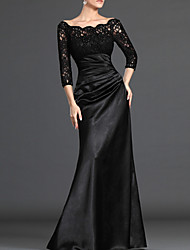cheap -Sheath / Column Off Shoulder Floor Length Polyester Elegant / Black Formal Evening / Wedding Guest Dress with Ruched / Lace Insert 2020