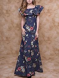 cheap -Women's Maxi A Line Dress - Floral Ruffle Square Neck Navy Blue S M L XL