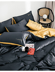cheap -Duvet Cover Sets 4 Piece Linen / Cotton Solid Colored Black Printed Simple