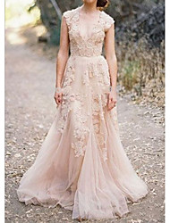cheap -A-Line V Neck Sweep / Brush Train Lace Sleeveless Formal Wedding Dress in Color Wedding Dresses with Appliques 2020