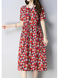 cheap -Women's A Line Dress - Print Yellow Blue Red M L XL XXL
