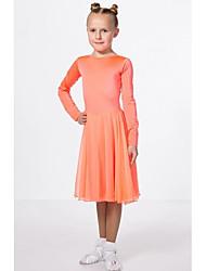 cheap -Kids' Dancewear Club Costume Girls' Performance Polyester Taffeta Ruching Long Sleeve Dress