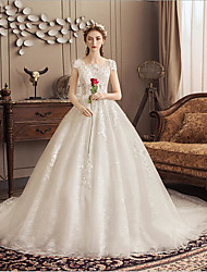 cheap -Ball Gown Jewel Neck Watteau Train Polyester / Lace / Tulle Short Sleeve Romantic Wedding Dresses with Lace 2020