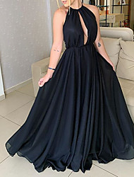 cheap -A-Line Elegant Black Quinceanera Prom Dress Halter Neck Sleeveless Floor Length Chiffon with Pleats 2020