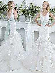 cheap -Mermaid / Trumpet V Neck Court Train Lace / Tulle Sleeveless Sexy Plus Size Wedding Dresses with Bow(s) / Cascading Ruffles 2020