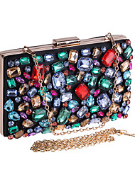 cheap -Women's Bags Acrylic Polyester Evening Bag Crystals Chain Color Block Wedding Bags Wedding Party Event / Party Rainbow