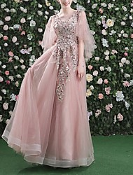 cheap -A-Line Floral Pink Prom Formal Evening Dress V Neck 3/4 Length Sleeve Floor Length Tulle with Sequin Appliques 2020
