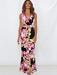 cheap -Women's Maxi Black Dress Swing Floral Deep V S M