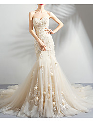 cheap -Mermaid / Trumpet Wedding Dresses Strapless Court Train Chiffon Tulle Strapless Formal Wedding Dress in Color Illusion Detail Plus Size with Draping Lace Insert Appliques 2020