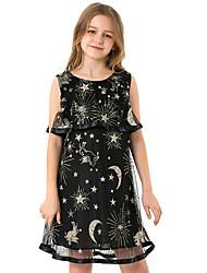 cheap -Kids Girls' Sweet Street chic Galaxy Sequins Mesh Sleeveless Knee-length Dress Black