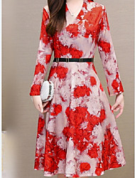 cheap -Women's Plus Size Red Blue Dress A Line Floral V Neck L XL