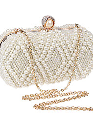 cheap -Women's Pearls Polyester Evening Bag Solid Color Black / White / Champagne