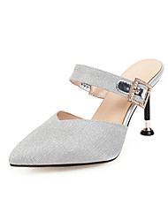 cheap -Women's Clogs & Mules Stiletto Heel Pointed Toe Sparkling Glitter Microfiber Classic / Minimalism Spring & Summer Silver / Pink / Gray / Party & Evening