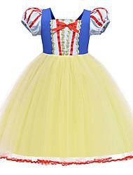 cheap -Princess Dress Flower Girl Dress Girls' Movie Cosplay A-Line Slip Yellow Dress Children's Day Polyester / Cotton Blend Polyster