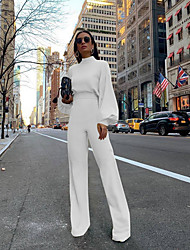 cheap -Women's Basic Street White Black Yellow Jumpsuit Solid Colored