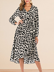 cheap -Women's Asymmetrical White Brown Dress A Line Leopard V Neck S M