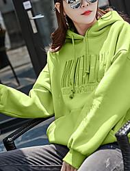 Недорогие -Жен. Толстовка Однотонный / Буквы Классический Желтый Зеленый Бежевый M L XL XXL