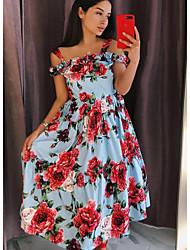 cheap -Women's White Black Dress A Line Floral Strap S M