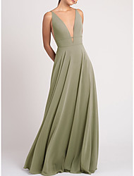 cheap -Sheath / Column V Neck Floor Length Chiffon Bridesmaid Dress with Ruching