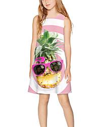 cheap -Kids Girls' Basic Cute Striped Fruit Print Sleeveless Above Knee Dress Blushing Pink