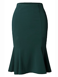 cheap -Women's Daily Wear / Office Basic Bodycon / Trumpet / Mermaid Skirts - Solid Colored Ruffle Black Green S M L