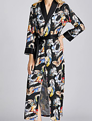 cheap -Women's Deep V Robes Pajamas Print / Feathers
