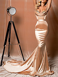 cheap -Mermaid / Trumpet Scoop Neck Court Train Polyester Sexy / Gold Engagement / Formal Evening Dress with Lace Insert / Appliques 2020