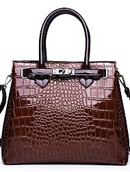 cheap -Women's Zipper Leather / Polyester Top Handle Bag Handbags Crocodile Black / Red / Brown / Fall & Winter