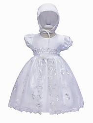 cheap -Ball Gown Floor Length Event / Party Christening Gowns - Polyester Short Sleeve Jewel Neck with Lace / Bow(s) / Appliques
