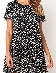 cheap -Women's Blushing Pink Black Dress Loose Polka Dot S M
