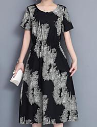 cheap -Women's Red Black Dress Sheath Print M L