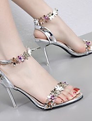 cheap -Women's Heels Flat Heel Open Toe PU Summer Pink / White / Silver