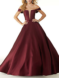 cheap -Ball Gown Elegant Red Prom Formal Evening Dress Off Shoulder Sleeveless Floor Length Satin with Sleek 2020