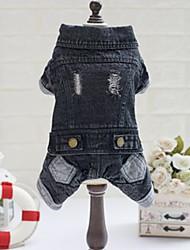 cheap -Dog Hoodie Denim Jacket / Jeans Jacket Dog Clothes Black Costume Bulldog Shiba Inu Pug Cotton Jeans Cowboy S M L XL XXL