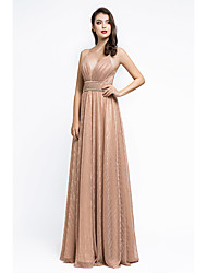 cheap -A-Line Spaghetti Strap Floor Length Spandex Empire / Pink Formal Evening / Wedding Guest Dress with Beading / Criss Cross 2020