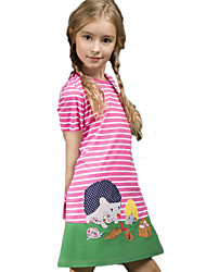cheap -Kids Girls' Cute Street chic Geometric Print Short Sleeve Knee-length Dress Red