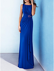 cheap -Sheath / Column Elegant Blue Wedding Guest Formal Evening Dress Jewel Neck Sleeveless Floor Length Polyester with Beading Draping 2020