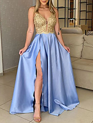 cheap -A-Line Prom Formal Evening Dress V Neck Sleeveless Floor Length Charmeuse Polyester with Sequin Split 2021