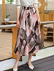 cheap -Women's A Line Skirts - Geometric Black Blushing Pink One-Size / Slim
