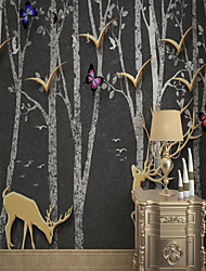cheap -Art Deco Custom Self-adhesive Mural Wallpaper Simple Birch Forest Golden Deer Suitable For Bedroom Living Room Coffee Shop Restaurant Hotel Wall Decoration Art Room Wallcovering