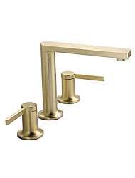 cheap -Bathroom Sink Faucet - Brushed Gold Copper Widespread Three Hole Dual Handle Lever Deck Mounted Basin Faucet Hot And Cold Washbasin Wash Room Cabinet Vanity Vessel Sink Hot And Cold Water Mixer Tap