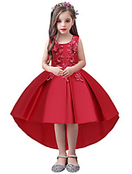 cheap -A-Line Asymmetrical Wedding / Party / Pageant Flower Girl Dresses - Tulle / Matte Satin / Poly&Cotton Blend Sleeveless Jewel Neck with Appliques / Solid