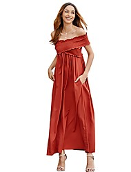cheap -Women's Maxi Orange Black Dress A Line Solid Color Off Shoulder S M Loose