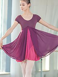cheap -Ballet Dresses Women's Training / Performance Polyester / Cotton Blend / Milk Fiber Split / Cascading Ruffles / Split Joint Short Sleeve Natural Dress