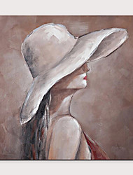 cheap -Straw Hat Girl Women Paintings Portrait Oil Painting On Canvas Wall Art