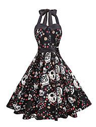 cheap -Women's Red Black Dress Skater Print Strap S M